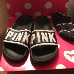 "VS "" pink"" slides/ free socks"